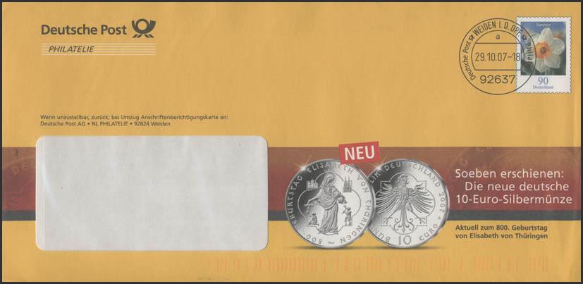 Plusbrief F252 Narzisse Werbung 10 Euro Münze Elisabeth Von