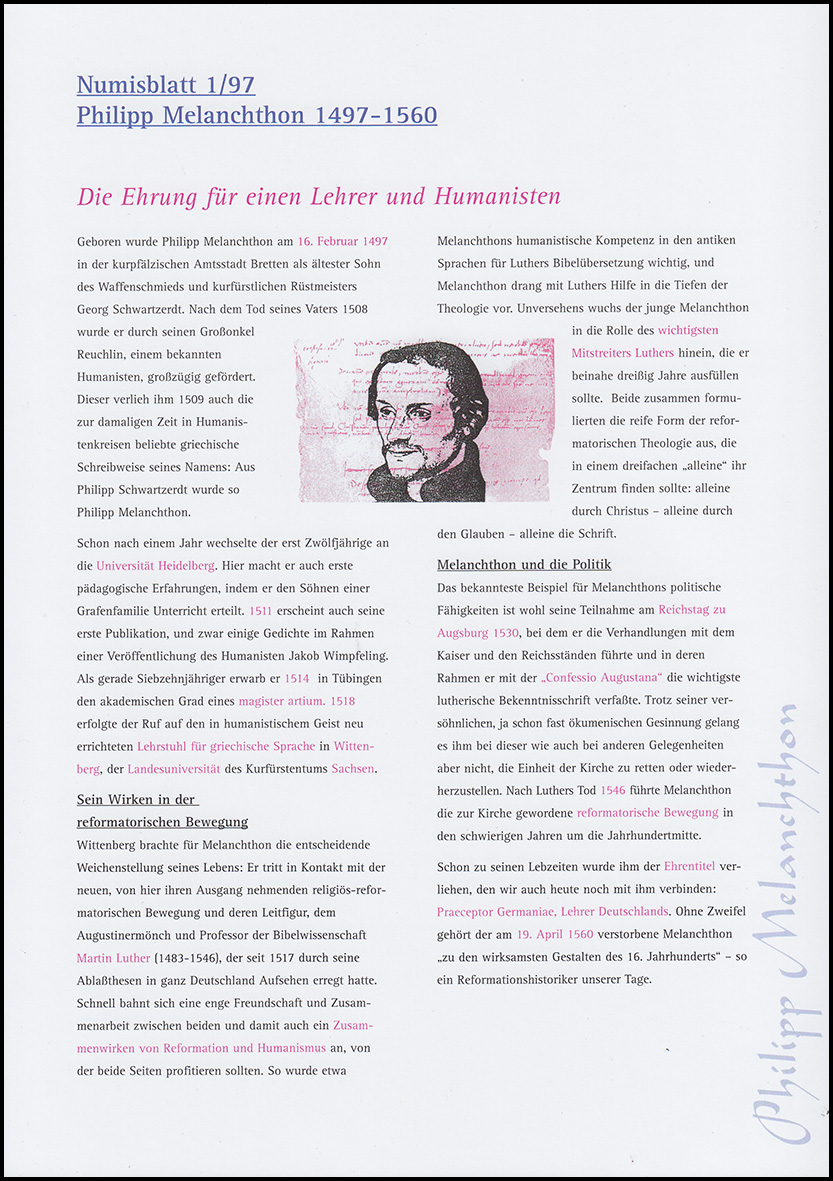 Das Erste Amtliche Numisblatt Melanchthon 11997 Original Mit Hülle
