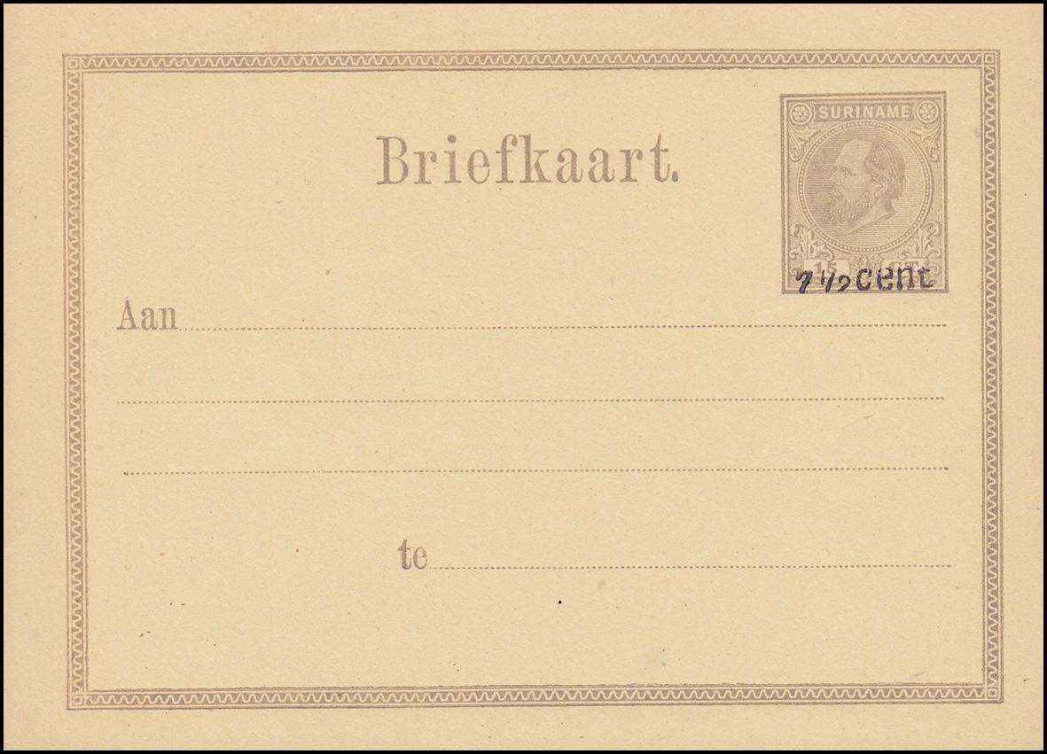 surinam postkarte post card 15 ct mit aufdruck 7 1 2 cent 1879 ungebraucht philmaster. Black Bedroom Furniture Sets. Home Design Ideas