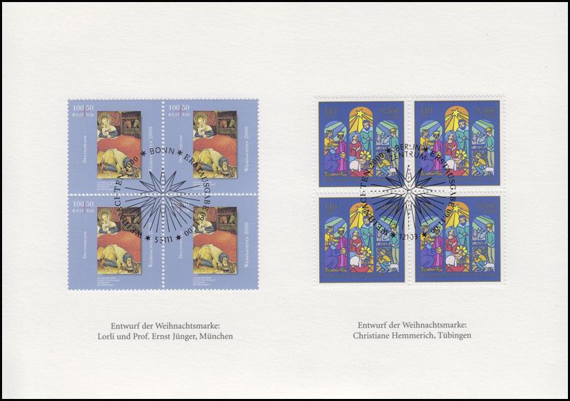 weihnachten deutsche post nl d sseldorf klappkarte 2151 2152 esst bonn philatelie. Black Bedroom Furniture Sets. Home Design Ideas