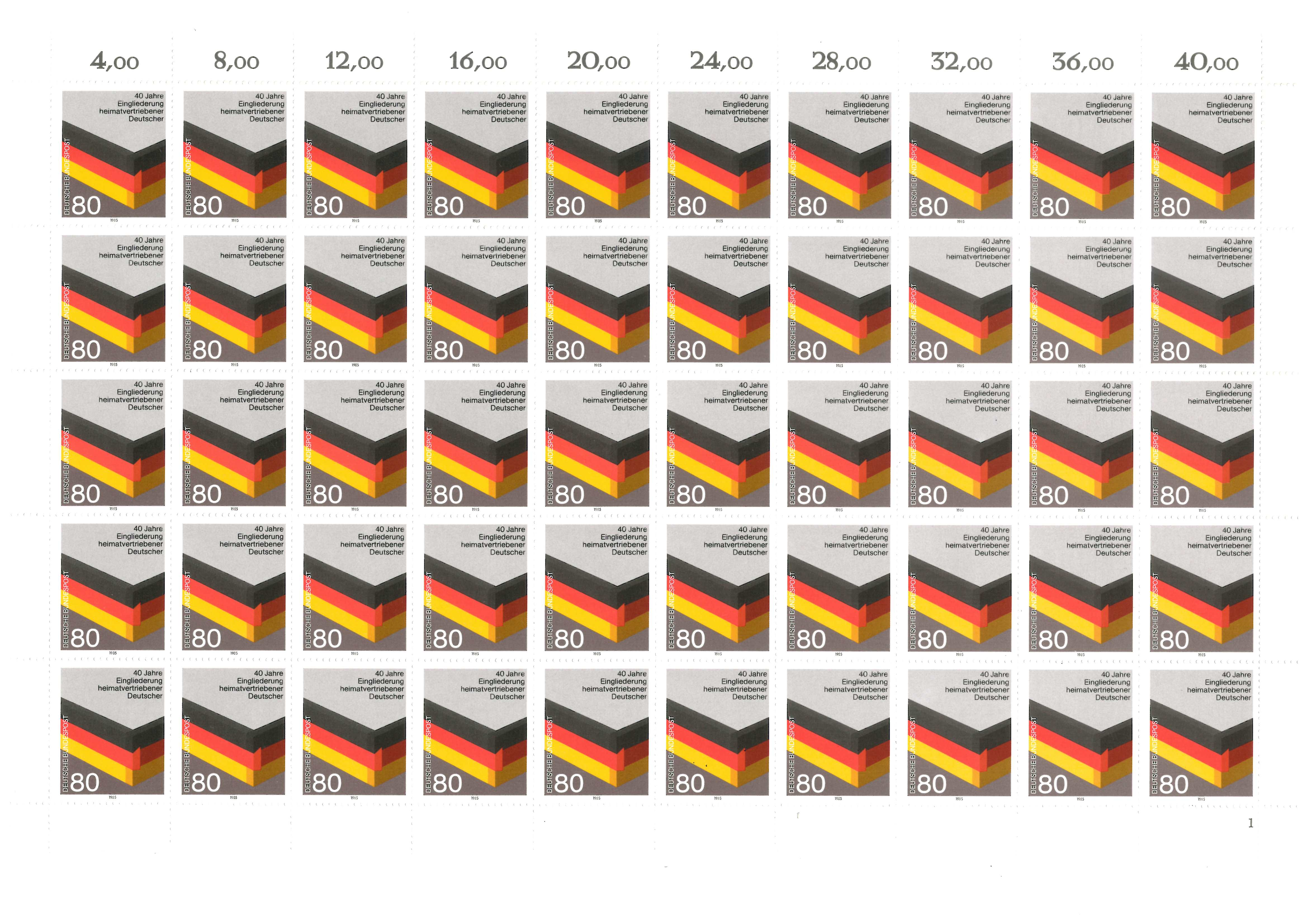 1285 Heimatvertriebene, kompletter 50er-Bogen mit FN 1, ** - Schwalmtal, Deutschland - 1285 Heimatvertriebene, kompletter 50er-Bogen mit FN 1, ** - Schwalmtal, Deutschland