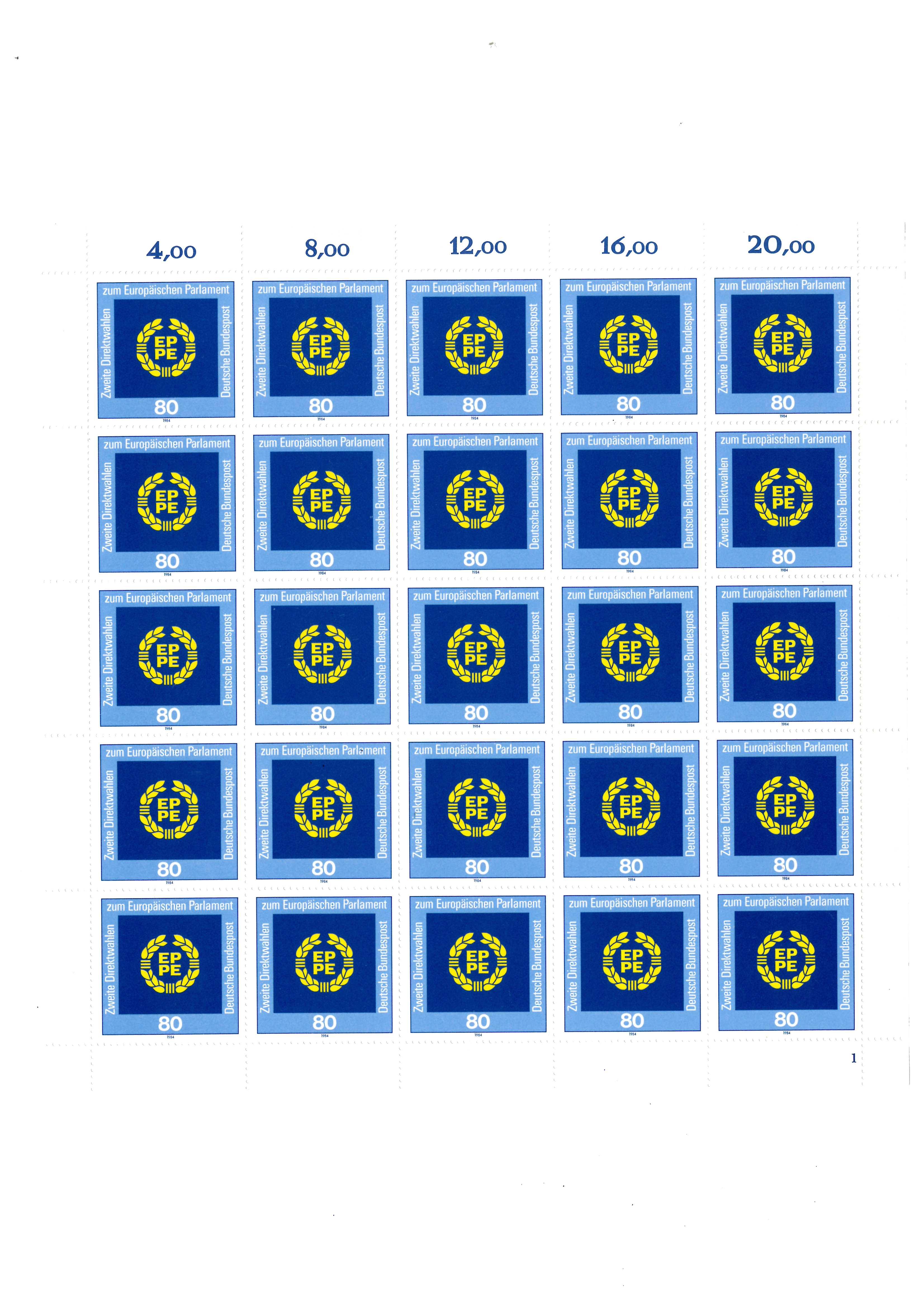 1209 Direktwahl zum Europaparlament, kompletter 25er-Bogen mit FN 1 ** - Schwalmtal, Deutschland - 1209 Direktwahl zum Europaparlament, kompletter 25er-Bogen mit FN 1 ** - Schwalmtal, Deutschland